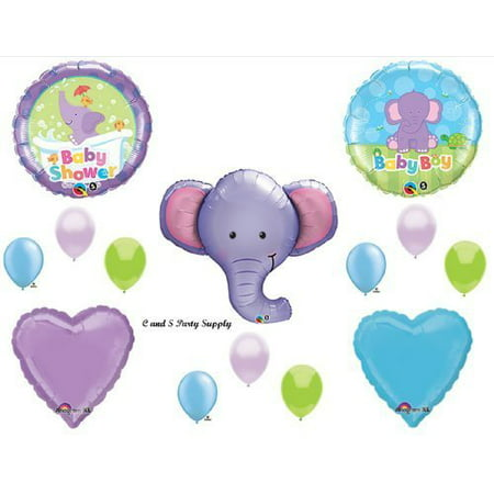 purple elephant baby boy balloons decorations supplies baby shower jungle zoo by qualatex - Purple Elephant Baby Shower Decorations