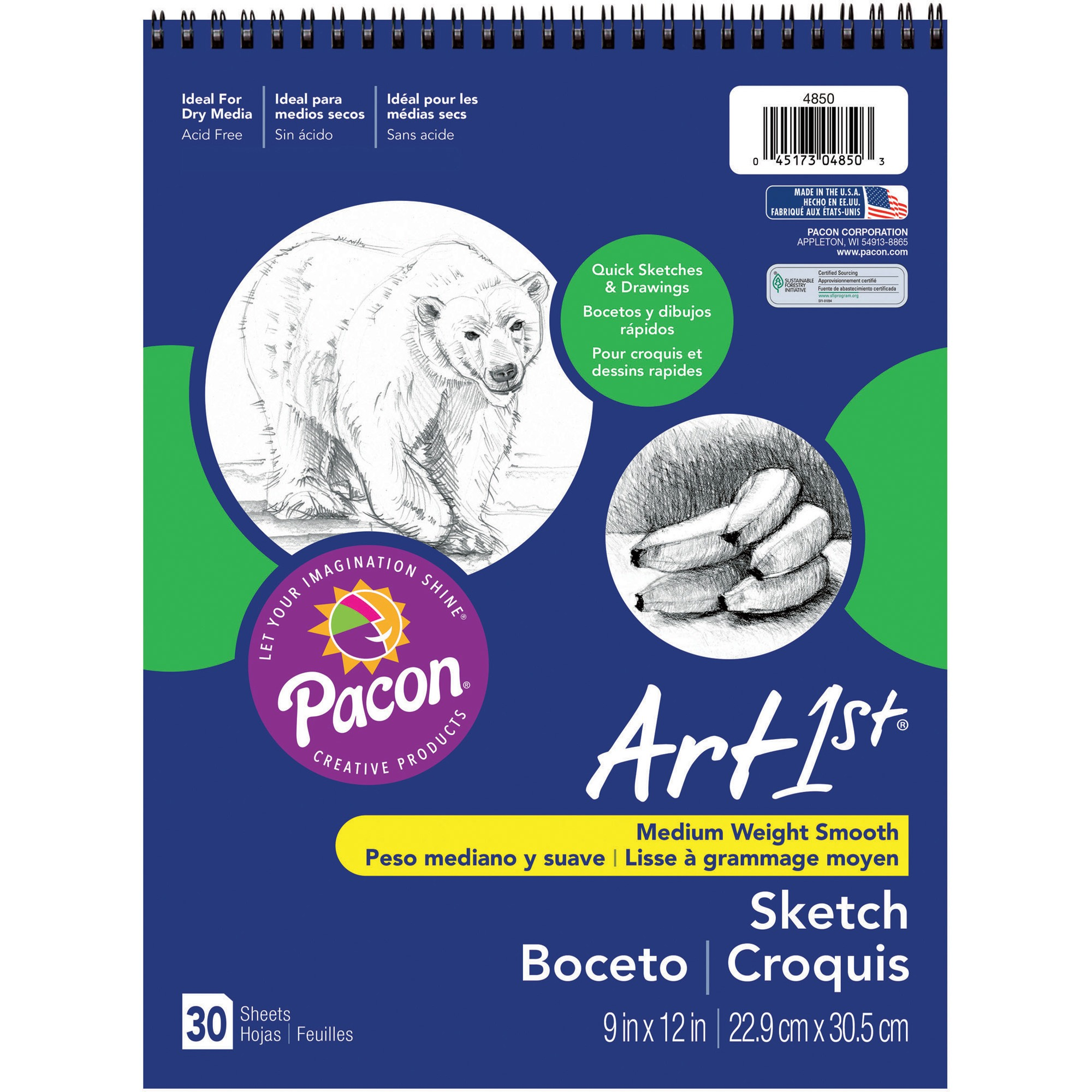 Art1st, PAC4850, Medium Weight Acid Free Sketch Books, 30 / Pad