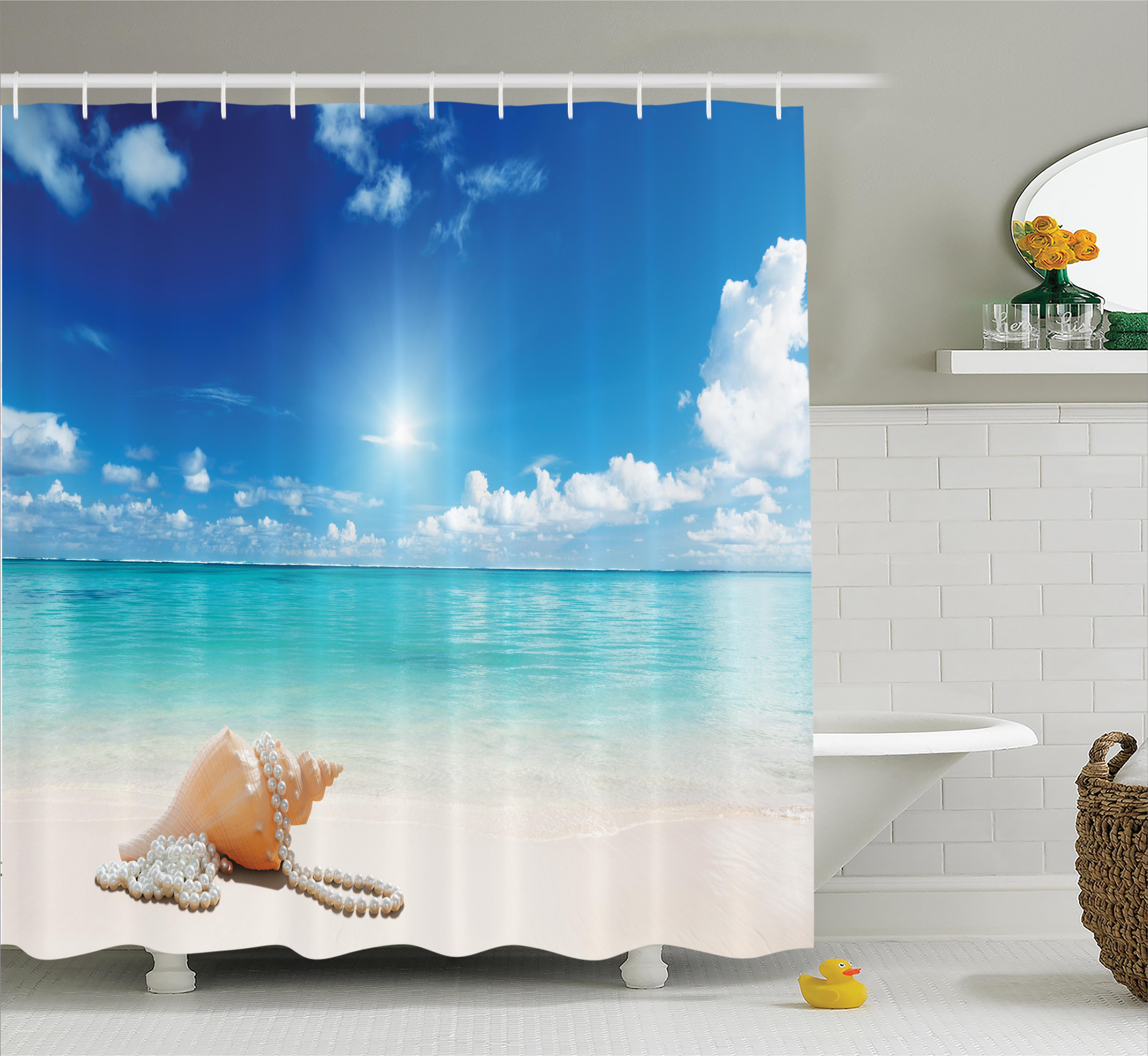 Shower Curtain Set, Seashells and Pearls on Sandy Beach Tropical Ocean Dreamiest Coastal Charm Image, Bathroom Decor,  Turquoise Cream, by Ambesonne