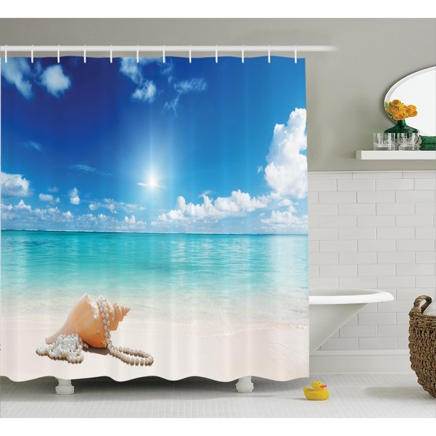 Shower Curtain Set Seashells And Pearls On Sandy Beach Tropical Ocean Dreamiest Coastal Charm Image Bathroom Decor Turquoise Cream By Ambesonne Walmart Com Walmart Com