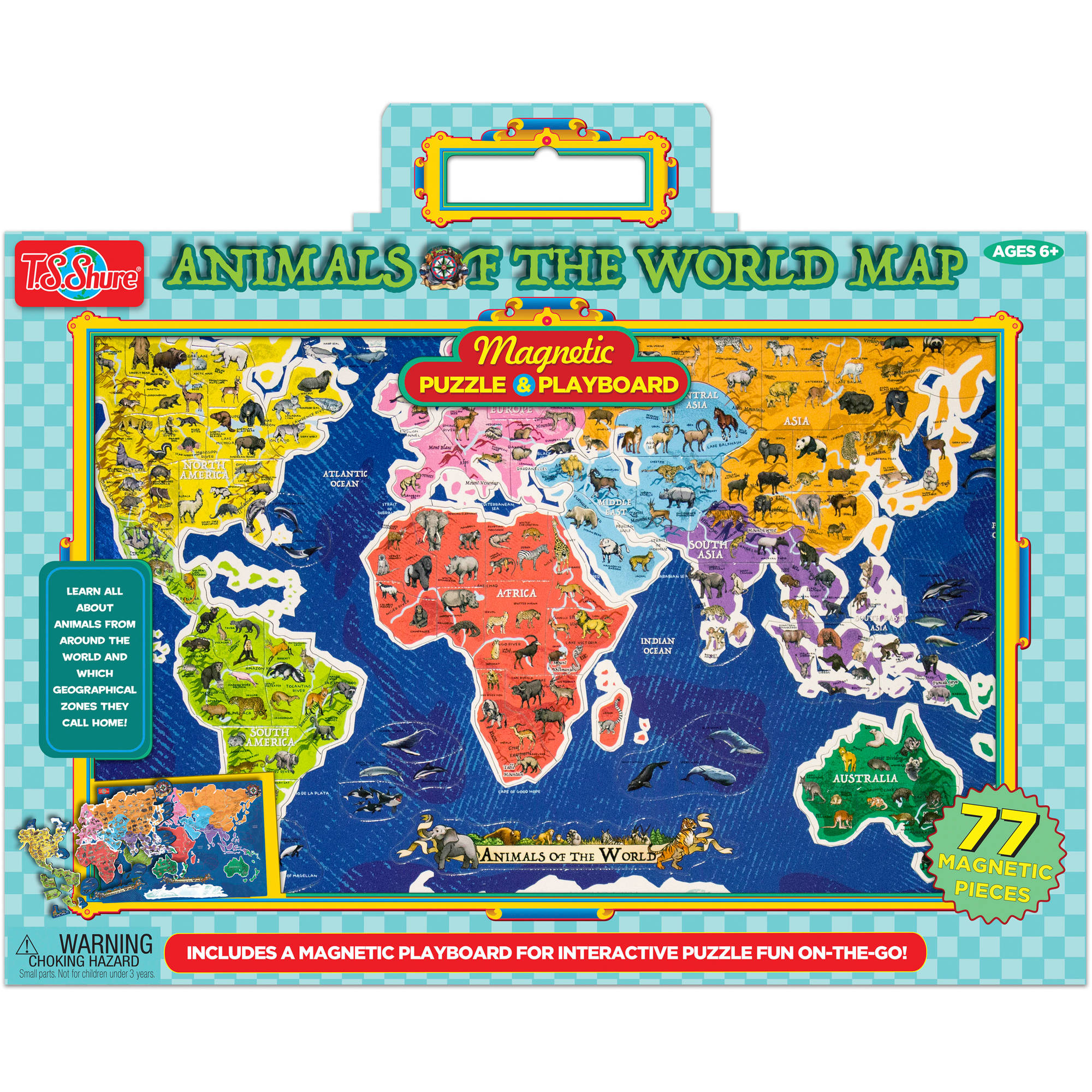 Ts shure animals of the world map magnetic playboard and puzzle ts shure animals of the world map magnetic playboard and puzzle walmart gumiabroncs Choice Image