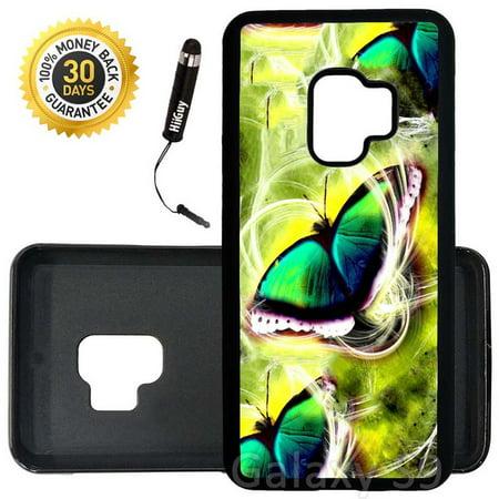 Custom Galaxy S9 Case (Butterfly Swirls) Edge-to-Edge Rubber Black Cover Ultra Slim | Lightweight | Includes Stylus Pen by Innosub
