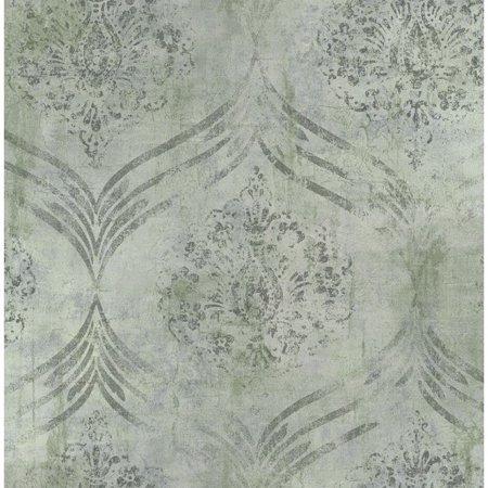 Seabrook Wallpaper in Gray, Green MK21204