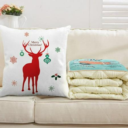 New Year Retro Christmas Cotton Line Pillowcase Bedroom Sofa Decoration Cushion Cover Linen Color