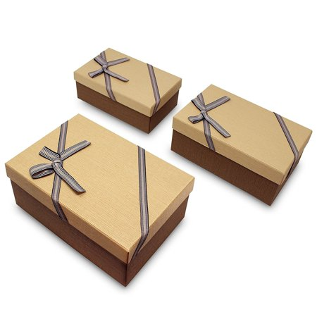 Bow Tie Gift Box (Ikee Design Decorative Nesting Gift Boxes, A Set of 3, Light Brown with A Bow tie)