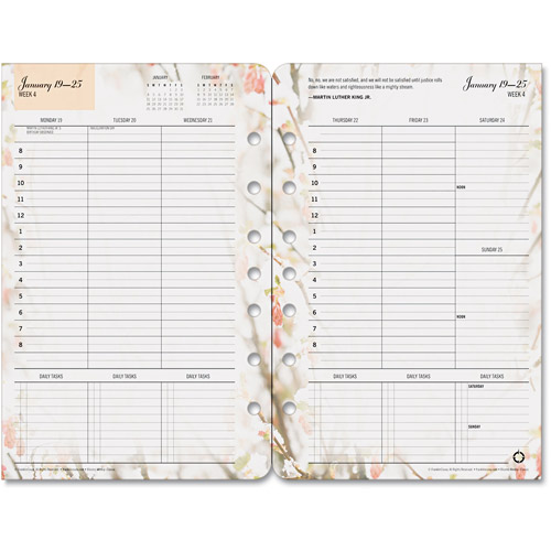 """FranklinCovey Blooms Dated Weekly/Monthly Planner Refill, January-December, 5.5"""" x 8.5"""", 2014"""