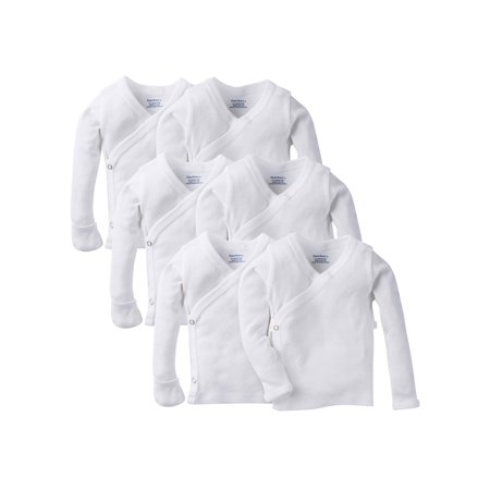 Gerber Long Sleeve Side Snap Shirt with Mitten Cuffs, 6pk (Baby Boys or Baby Girls,