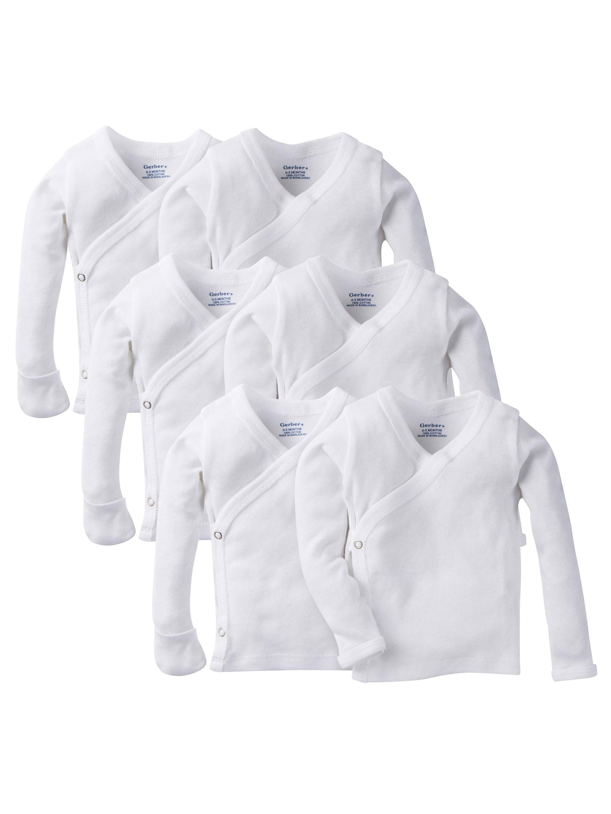 Long Sleeve Side Snap Shirt with Mitten Cuffs, 6pk (Baby Boy or Baby Girl Unisex)