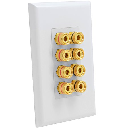 Seismic Audio White 4 Speaker Banana Plug / Speaker Wire Wall Plate - -
