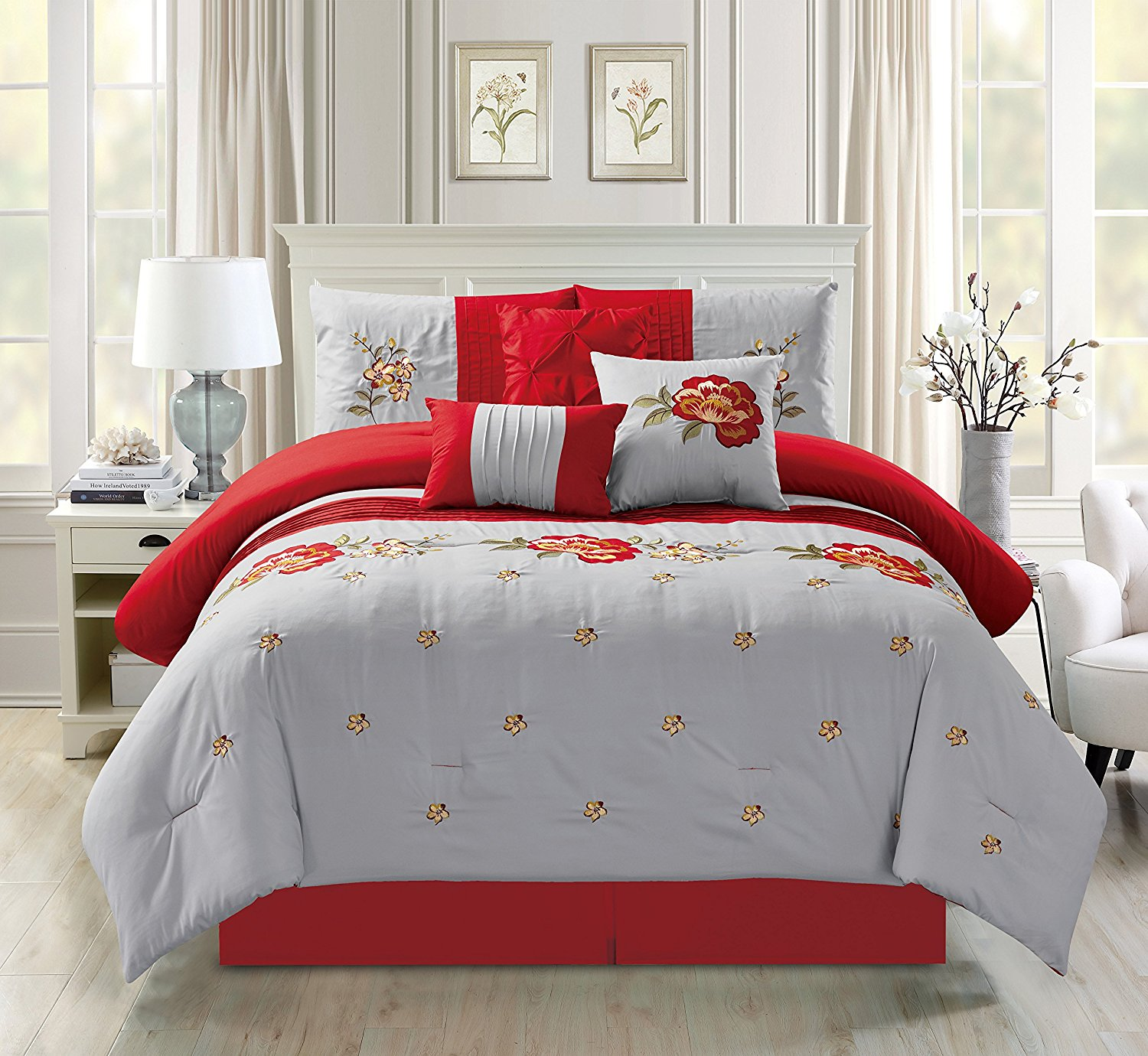 Empire Home Oversized Gray & Red 7-Piece Floral Embroidered Bedding Comforter Set with 21068 - Queen Size