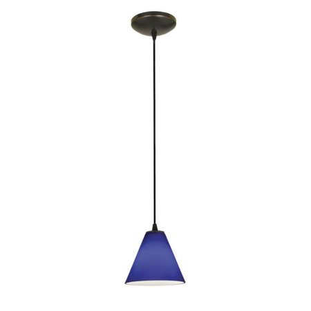 Access Lighting Sydney Oriental - One Light Pendant (Cord Hung), Oil Rubbed Bronze Finish with Cobalt Blue Glass 1 Light Cord Pendant