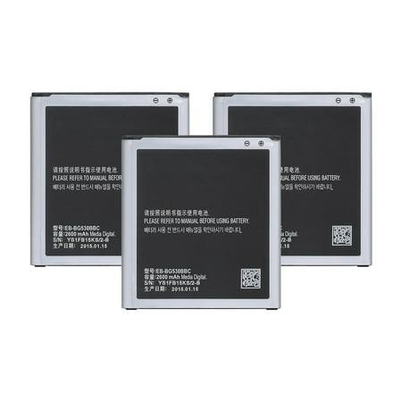 Replacement Battery For Samsung SM-J320V Mobile Phones - EB-BG530BBC  (2600mAh, 3 8V, Lithium Ion) - 3 Pack