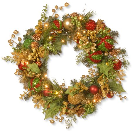 Pre-Lit Decorated Artificial Christmas Wreath - 30-Inch, LED Lights/BO](Wreath Decorating Ideas)