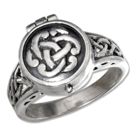 STERLING SILVER ANTIQUED CELTIC KNOT POISON RING
