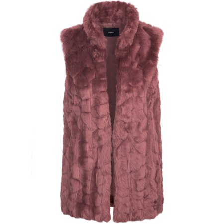KOGMO Womens Classic Soft Faux Fur Lightweight Vest with Collar