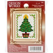 """Christmas Tree Ornament Counted Cross-Stitch Kit, 2"""" x 3"""""""