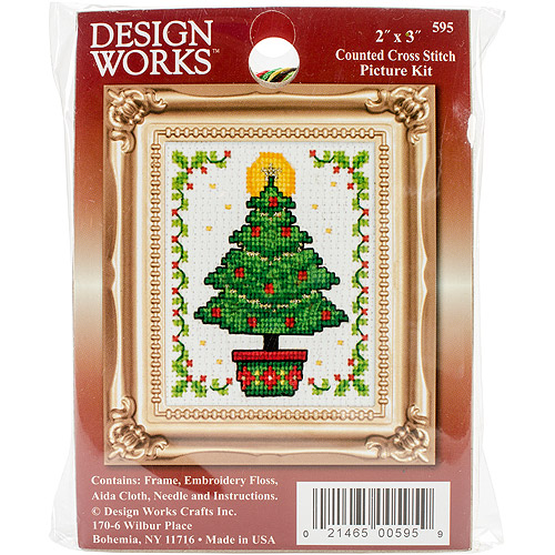 "Christmas Tree Ornament Counted Cross-Stitch Kit, 2"" x 3"""