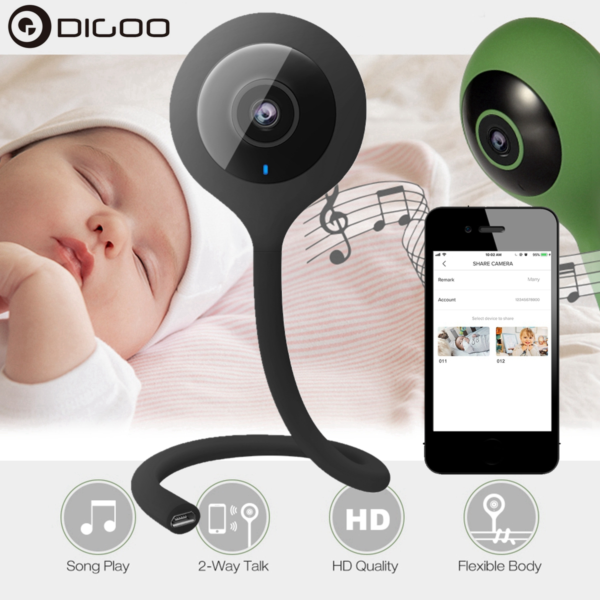 Digoo 720p HD WiFi Wireless Security IP Camera System with Night Vision and Two Way Audio Baby Monitor