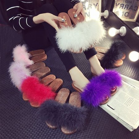 Pink Feather Shoes (Women Ladies Fashion Flats Slip On Feather Fluffy Slippers Mules Creepers Sandals)