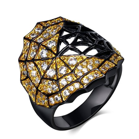 Unique Jeweled Black Spider Web Ring - Ginger Lyne Collection](Jeweled Spider)