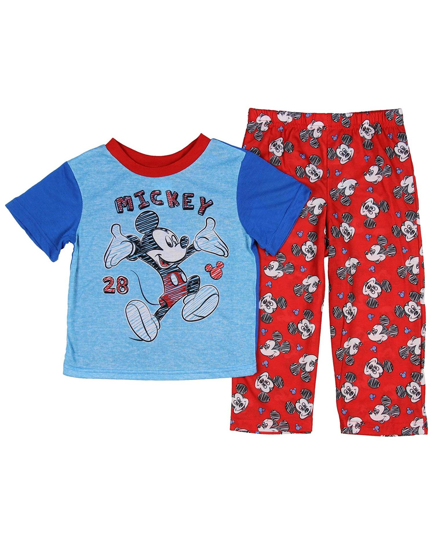 Disney Mickey Mouse Boys 2 piece Pajamas Pants Size 2T 3T 4T Plush Velour Fleece