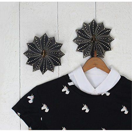 - Set of 2 Handmade Wooden Wall Hook Hanging Hanger Painted with Black Mandala Print for Hang Coat Scarves Umbrella & Hat