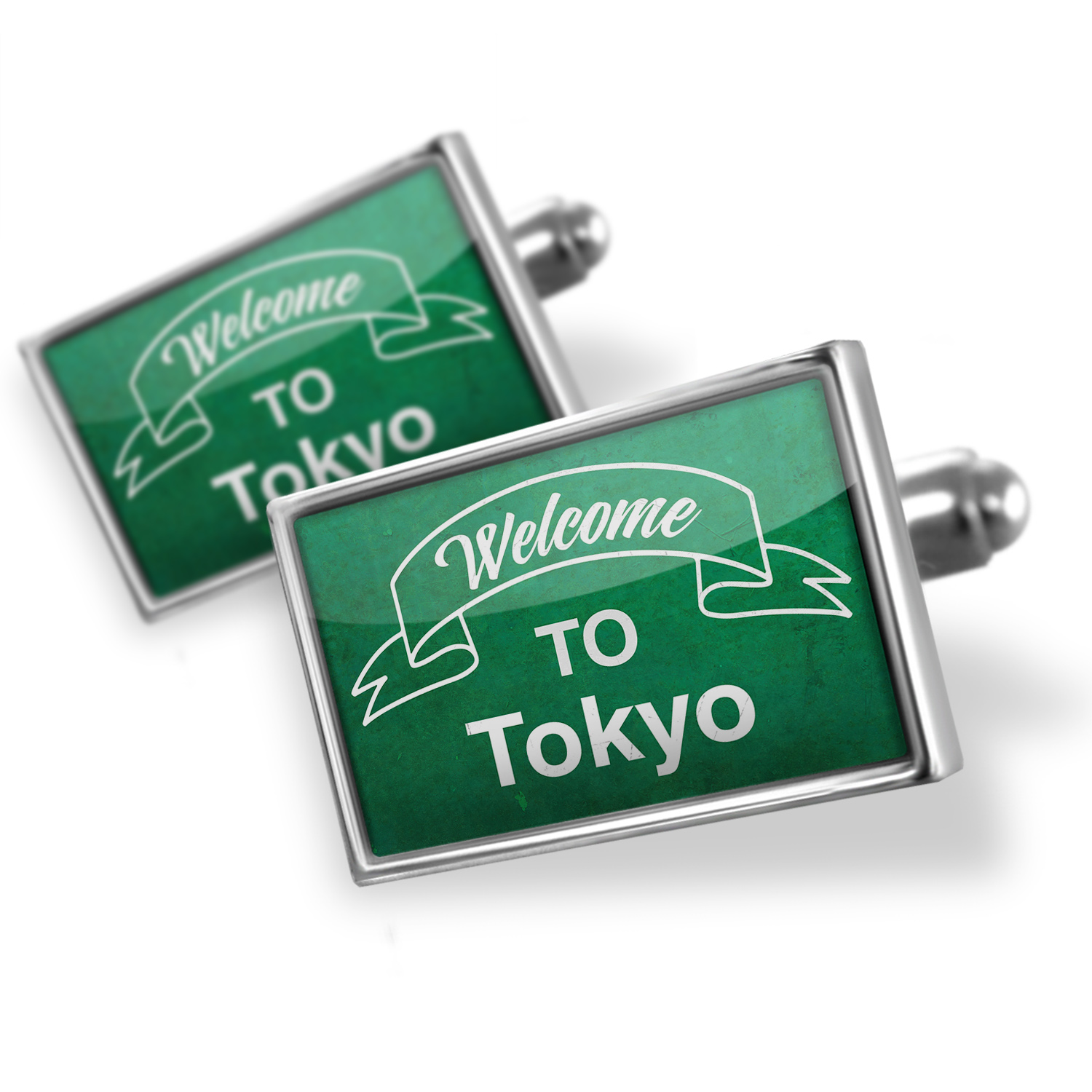 Cufflinks Green Sign Welcome To Tokyo - NEONBLOND