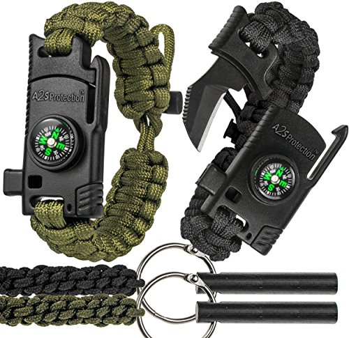A2S 2 SHARP Paracord Bracelet 4pcs set Survival Gear Kit with Embedded Compass, Fire Starter, Emergency Knife & Whistle + 2X Fire-starters... by