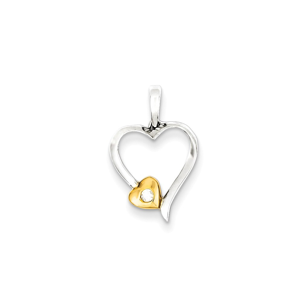 Sterling Silver & 14k Gold-Plated Diamond Heart Pendant. Carat Wt- 0.03ct