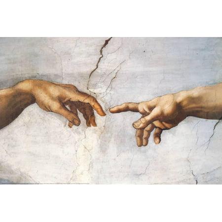 Hand Print Art (Creation of Adam Detail Hands Art Print By Michelangelo Buonarroti -)