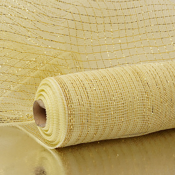 "10"" X 10 Yards Ivory/Gold Deco Mesh W/Metallic Stripes by Paper Mart"