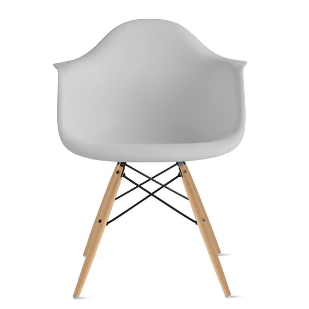 2xhome Light Gray Mid Century Modern Plastic Dining Chair Molded With Arms Armchairs Natural Wood Legs Desk No Wheels Accent Chair Vintage Designer for Small Space Table Furniture Living Room Desk DSW