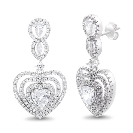Inspired by You Heart Shaped Prong Set Cubic Zirconia Drop Dangle Bridal Halo Earring for Women in Rhodium Plated 925 Sterling Silver