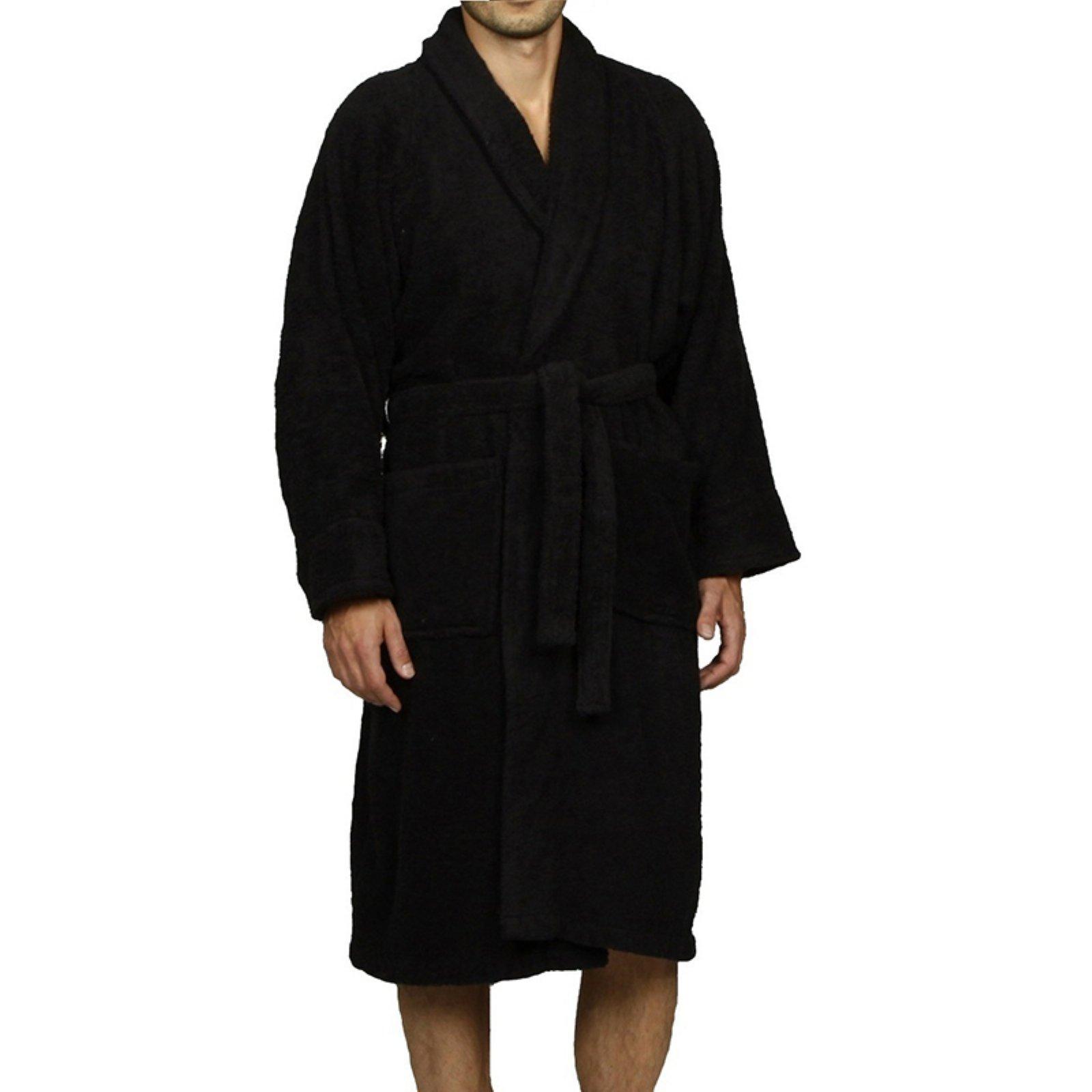 Simple Elegance Superior Collection Luxurious Egyptian Cotton Unisex Terry Bath Robe , Size: L , Size L 12 - 14, Black - L (12 - 14)