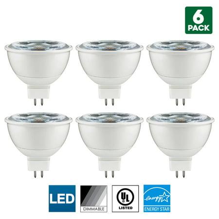 Cool Sun Air Cooled Reflector - 6 Pack Sunlite MR16 LED Bulb, 12 Volt, Mini Quartz Reflector, 7 Watt, 3000K Warm White, 600 Lumens, 80 CRI, GU5.3 Base, 25,000 Hour Long Life, Dimmable, UL Listed, Energy Star , 50W Equal, Cool Touch