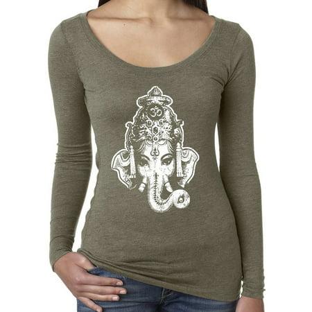 Womens Ganesha Head Long Sleeve Yoga Tee Shirt - Venetian Gray