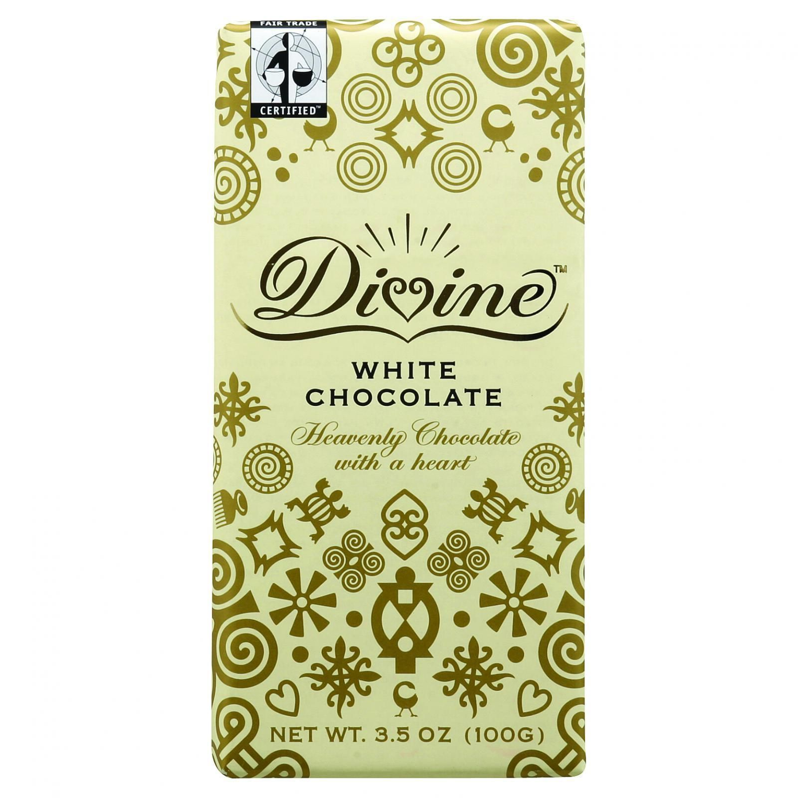 Divine Chocolate Bar - White Chocolate - 3.5 oz Bars - Case of 10