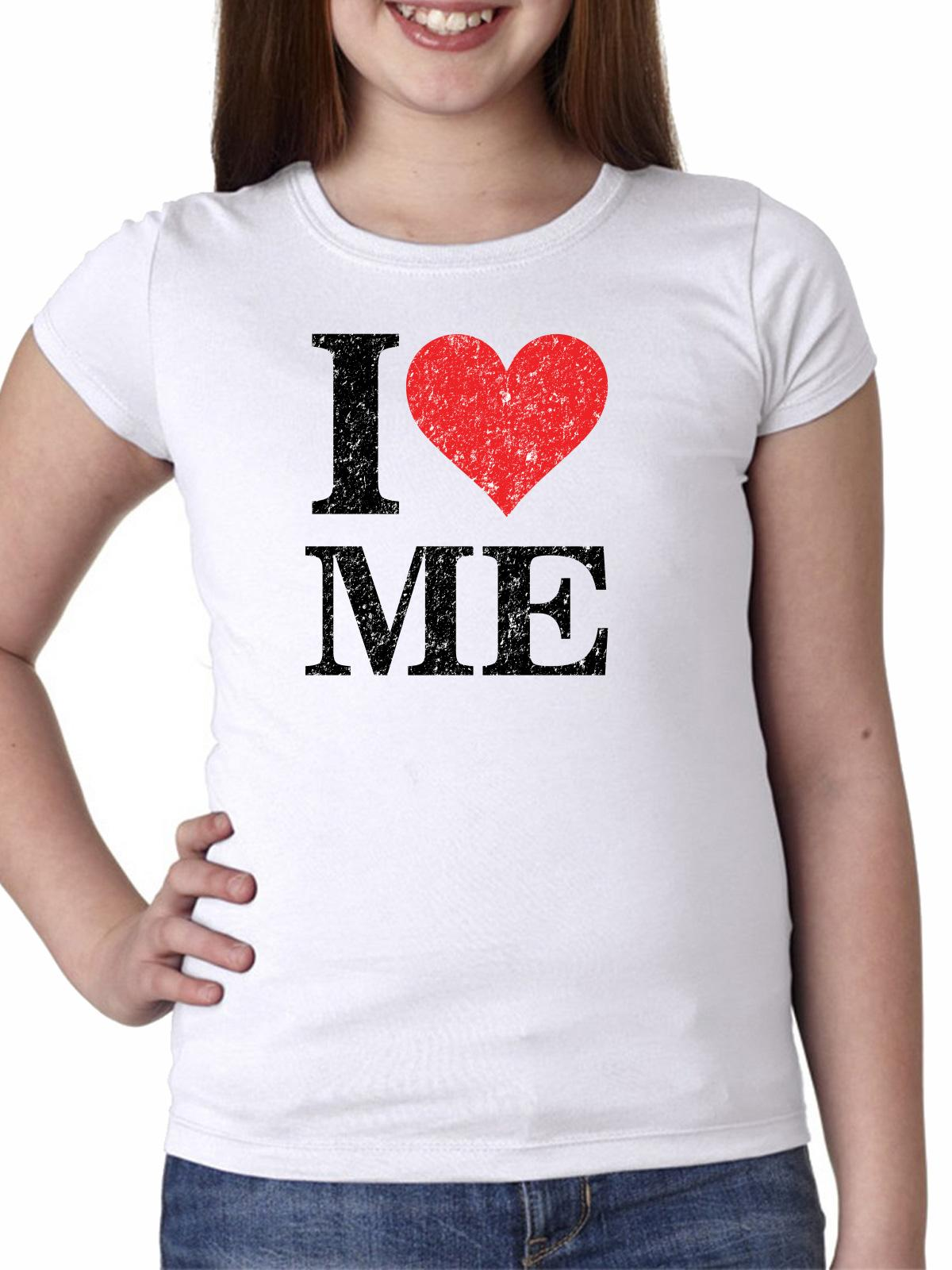 Hilarious I Love Me With Big Red Heart Girl's Cotton Youth T-Shirt