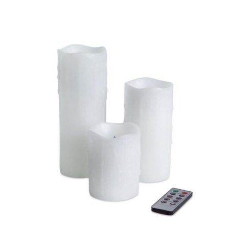 Set of 3 White Battery Operated Flameless LED Lighted Dripping Wax Pillar Candles with Remote