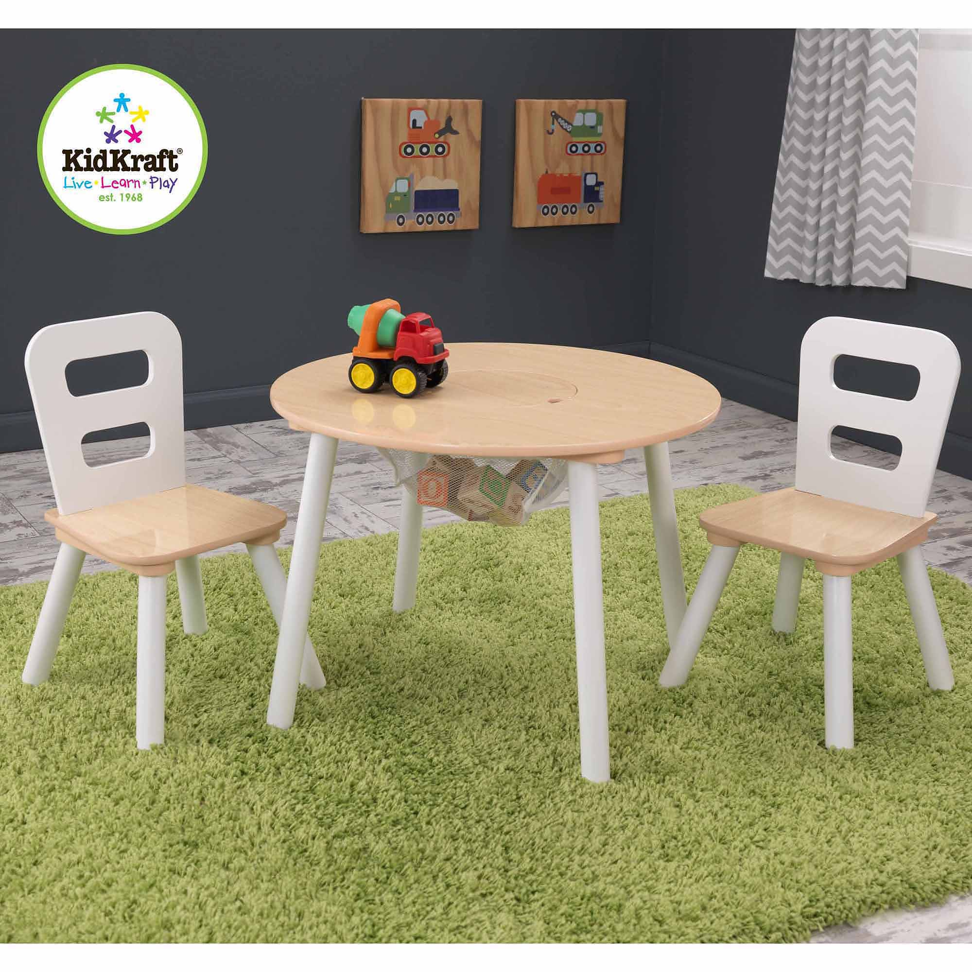 KidKraft Round Storage Table and 2 Chairs Set, White/Natural