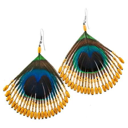 Peacock Feather Handbeaded Gold-tone Glass Beads Earrings