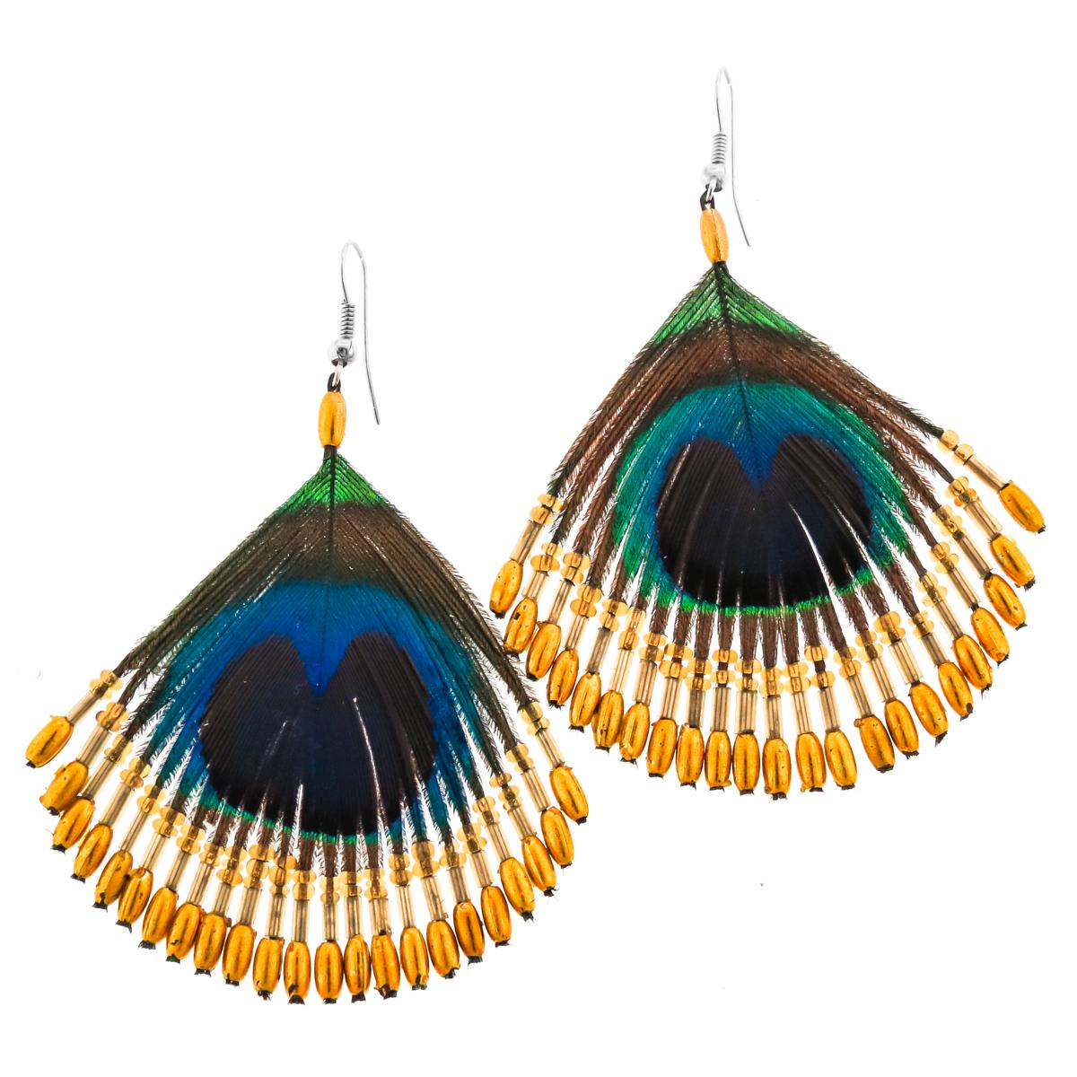 Peacock Feather Handbeaded Gold-tone Glass Beads Earrings
