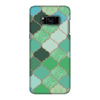 Samsung Galaxy S8 Case - Stained glass- Aquamarine, Hard Plastic Back Cover, Slim Profile Cute Printed Designer Snap on Case with Screen Cleaning Kit