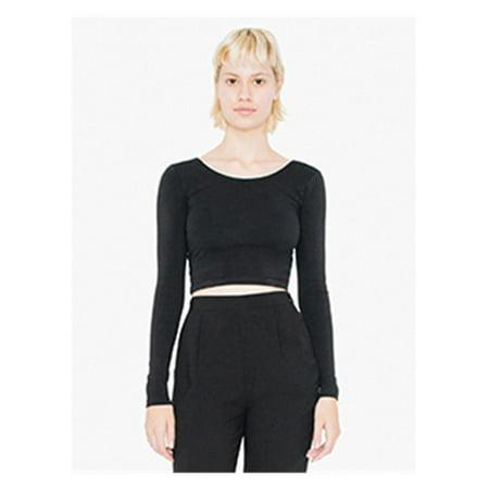 8f72e96b04e19 American Apparel - American Apparel T-Shirts Women s Cotton Spandex L S Crop  Top 8379W - Walmart.com