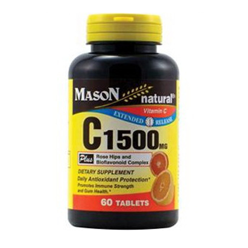 Mason Natural Vitamin C 1500 Mg Extended Release Rose Hips And Bioflavonoids Complex Tablets - 60 ea
