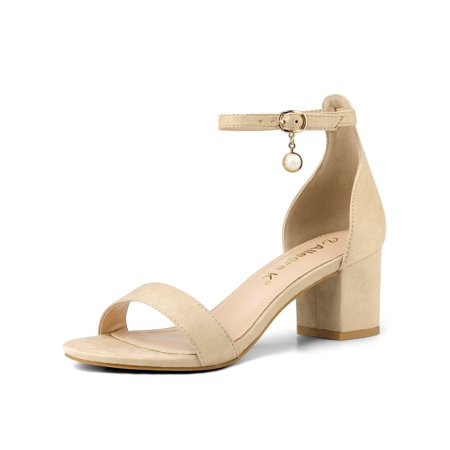 82ff63c2e Unique Bargains - Women s Open Toe Pearl Ankle Strap Chunky Heel ...