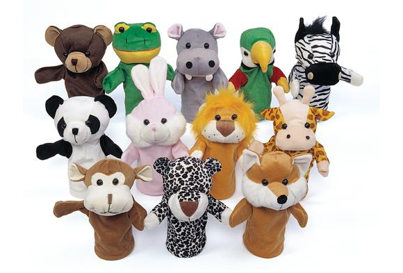 Excellerations Animal Hand Puppets Set of 12 (Item # PUPSET1) by