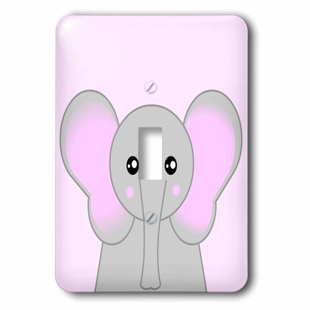 3dRose Cute Elephant - All Ears Pink - Single Toggle Switch (lsp_57088_1)