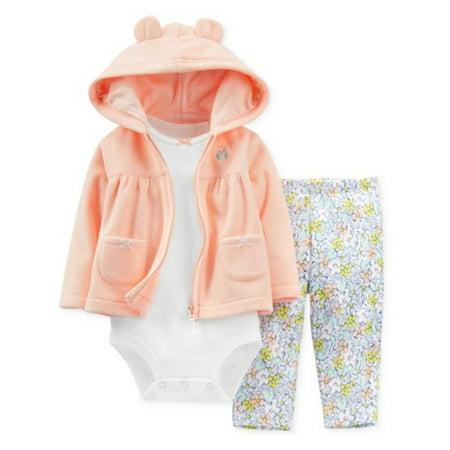 Orange Infant 3 Piece (Carters Infant Girls 3 Piece Fleece Orange Owl Hoodie Flower Leggings)