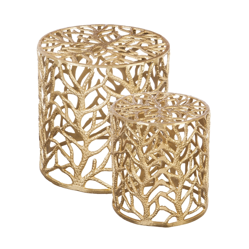 Casted aluminum stool with gold finish, set of 2